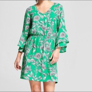 Green Floral Print Bell Sleeve Dress A New Day I